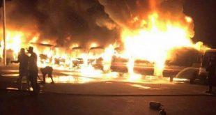 عمال «بن لادن » يحرقون 7 حافلات احتجاجاً على تأخر رواتبهم