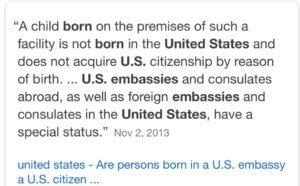 هل الطفل المولود داخل السفاره الامريكيه يحصل علي الجنسيه